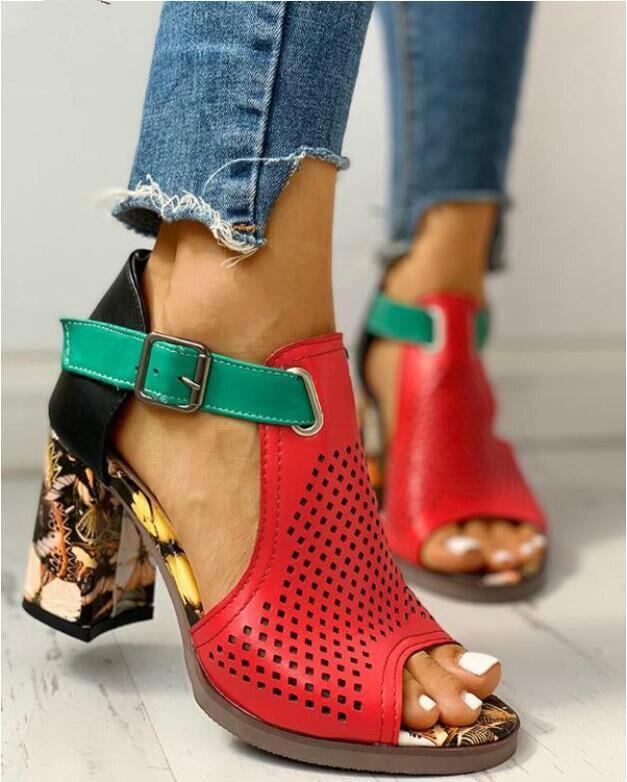 Women Sandals Summer Shoes Flock Block Heels Buckle Strap Ladies Classic Sandals Female Fashion High Heels Zapatos De Mujer