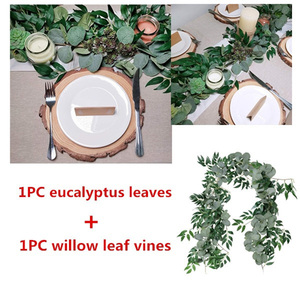 Image 5 - 2M Mixed Artificial Silver Dollar Eucalyptus Leaves and Willow Leaves Vine Wreath Wedding Arch Background Green Garland