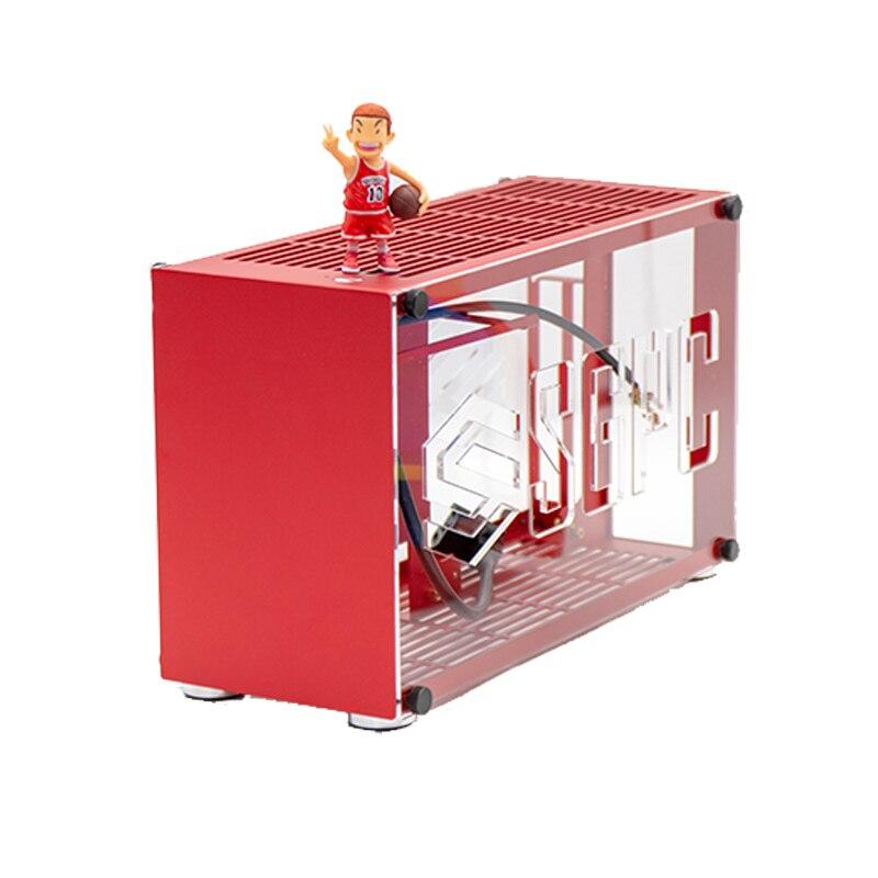 Aluminium Legierung A4 ITX Spiel Gaming Computer Host Chassis htpc itx fall nas server bergbau rig P55 K55/i5 i7/ 2060 2080Ti