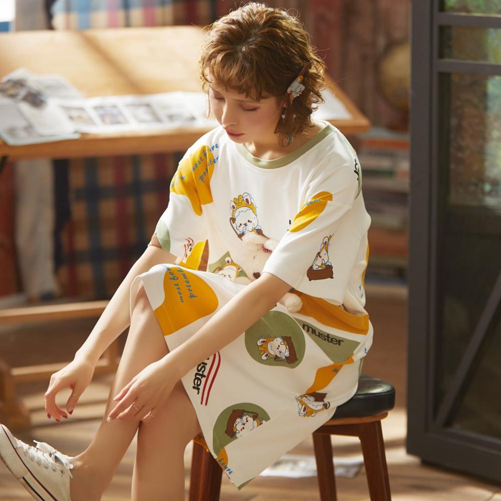 100% Cotton Women Sleepshirts Nightgowns Cartoon Night Dress Fashion Girls Nighty Sleepwear Ladies Nightwear Summer Homewear 3