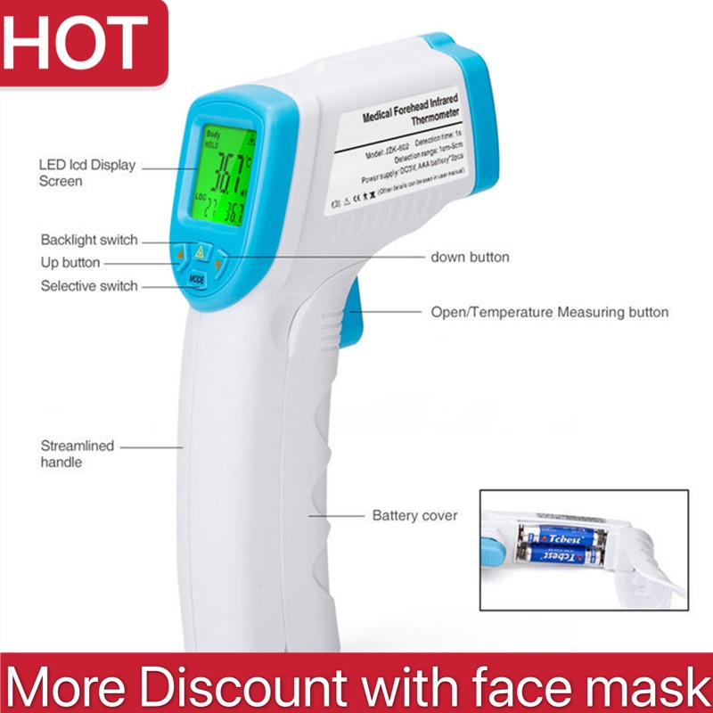 In Stock Non-contact Infrared Thermometer LCD Backlight Digital Thermometer Infrared Baby Adult Forehead Termometro Infravermelh