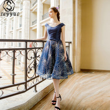 Skyyue Cocktail Dress Sleeveless V-Neck Crystal Short Cocktail Dress 2019 Elegant Plus Size Ball Gown Robe Cocktail Gown LX281 фото