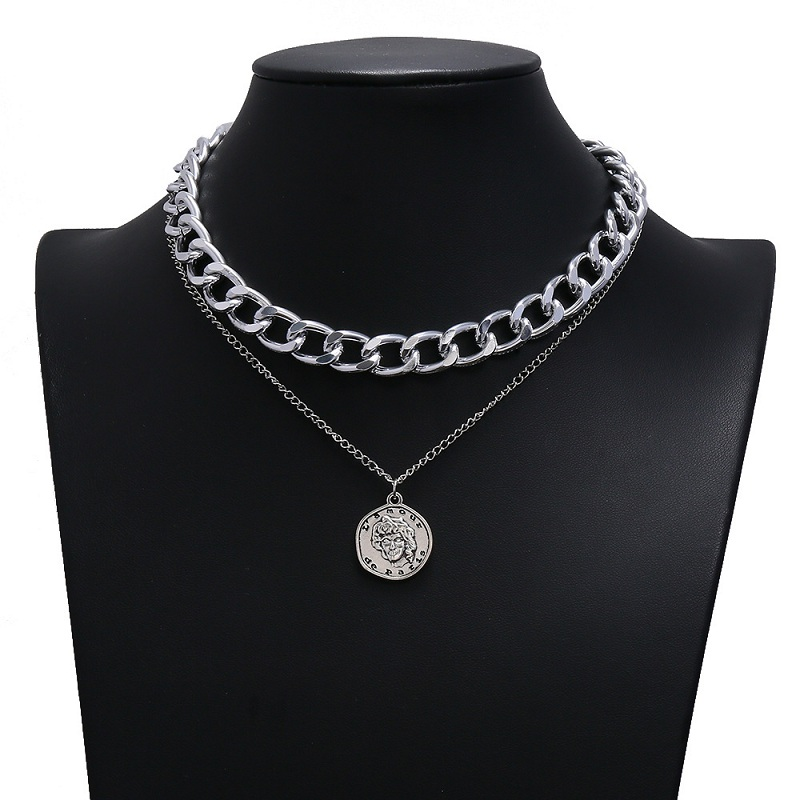 DealExknl Long Necklace Coin-Chain Silver-Color Fashion Jewelry Gold Vintage Double-Layer▀