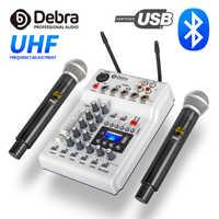 Debraaudio dj console mixer soundcard com 2 canais uhf microfone sem fio para casa pc estúdio de gravação dj rede karaoke ao vivo