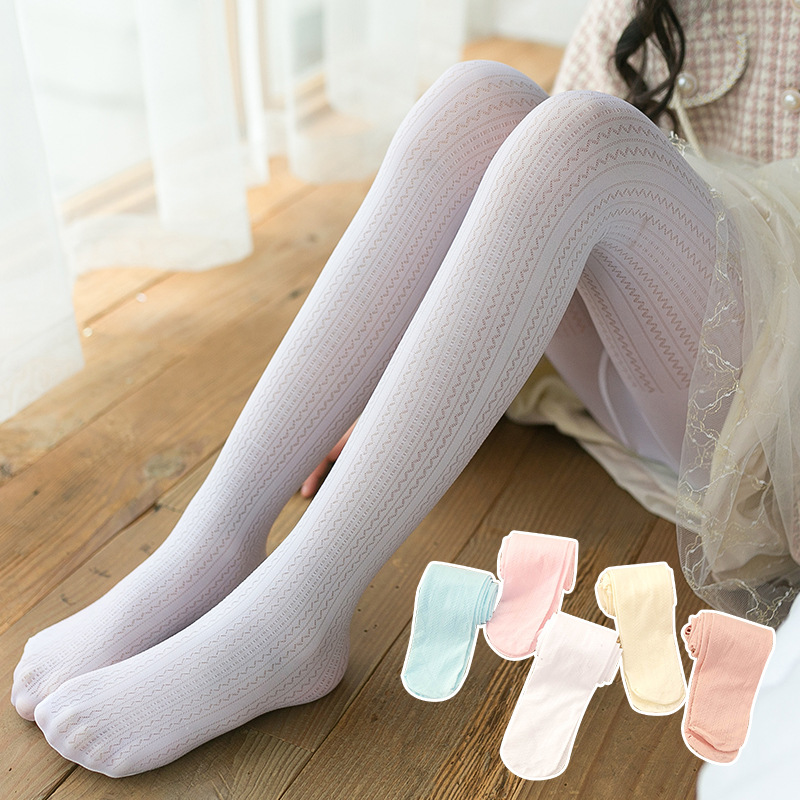 2021 Summer New Kids Girl Tights Breathable Mesh Stocking Baby Bow Cotton Pantyhose Baby Mosquito-Proof Pantyhose