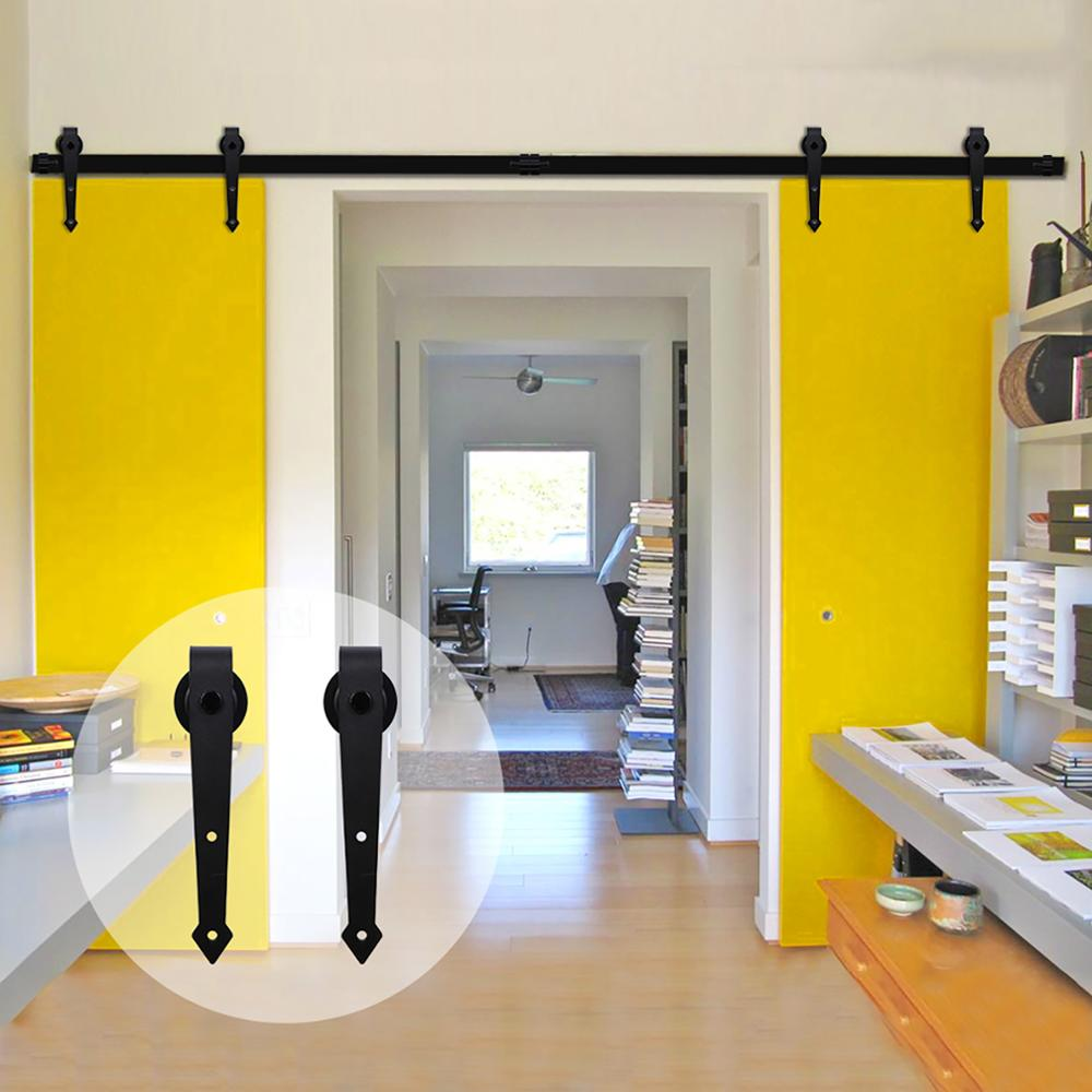 LWZH 10ft/12.6ft Fittings For Sliding Barn Wood Door Hardware Track Gear Sliding Barn Door Sliding Track System For Double Door