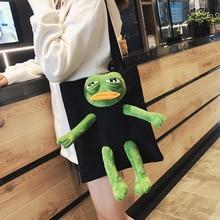 Women's Handbag Tote-Bag Frog Plush-Doll Shopping-Party-Canvas Funny Girl Cartoon Cute