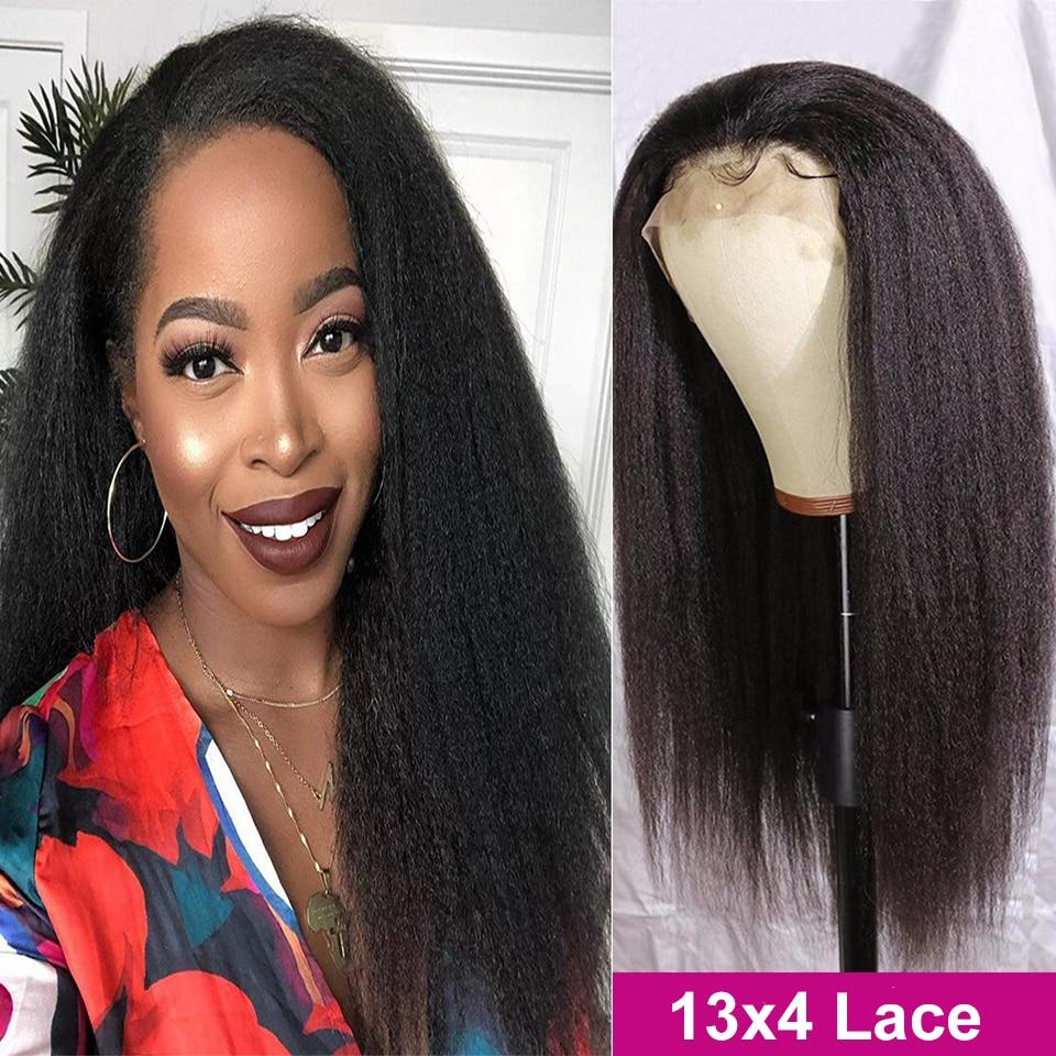 Курчавый прямой парик Maxine, парики из человеческих волос на сетке спереди, парики для женщин Yaki, парик из человеческих волос без клея, курчавы...