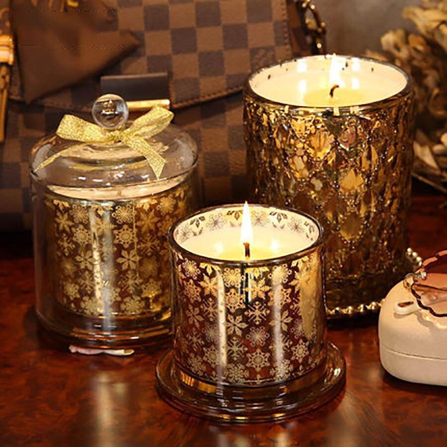 Huile or mariage faux bougies cadeau romantique sans fumée cire décorative bougies bois mèche Kaarsen licorne bougies en verre C70025