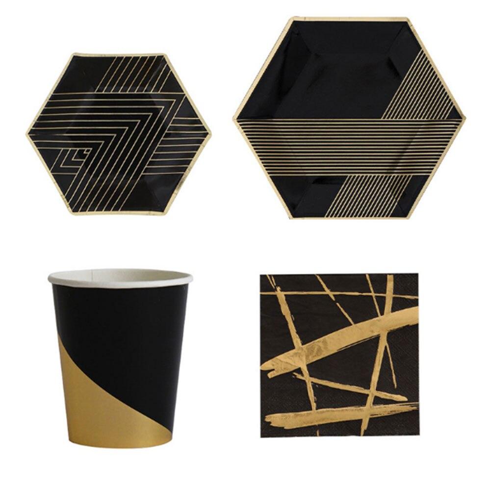 Одноразовая Золотая штамповка Черная бумажная посуда тарелки& чашки& полотенца одноразовые - Цвет: 20 paper towels