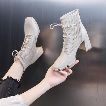 Buty dla kobiet wysokie 2021 nowa wiosna lato obcas Martin buty Zapatillas Mujer Chaussure Femme tanie i dobre opinie yunyiwa Klinowe buty na deszczową pogodę CN (pochodzenie) Zima Do kolan W stylu koreańskim Mieszane kolory Stałe korean version