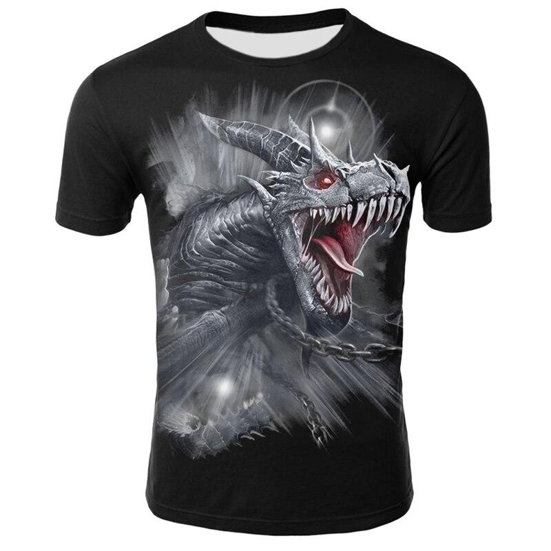 Men's Clothes Casual O Neck Short Sleeve Summer Mythical Animal Tshirt Streetwear 3D Animal Printing T-shirt Dragon Tops
