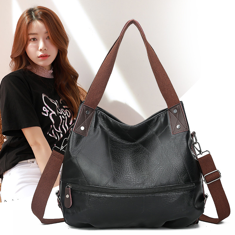 Black Color Women Shoulder Bags Female Large Hobos Bag Big Luxury Handbag For Ladies Casual Totes Retro Vantage Leather Hand Bag