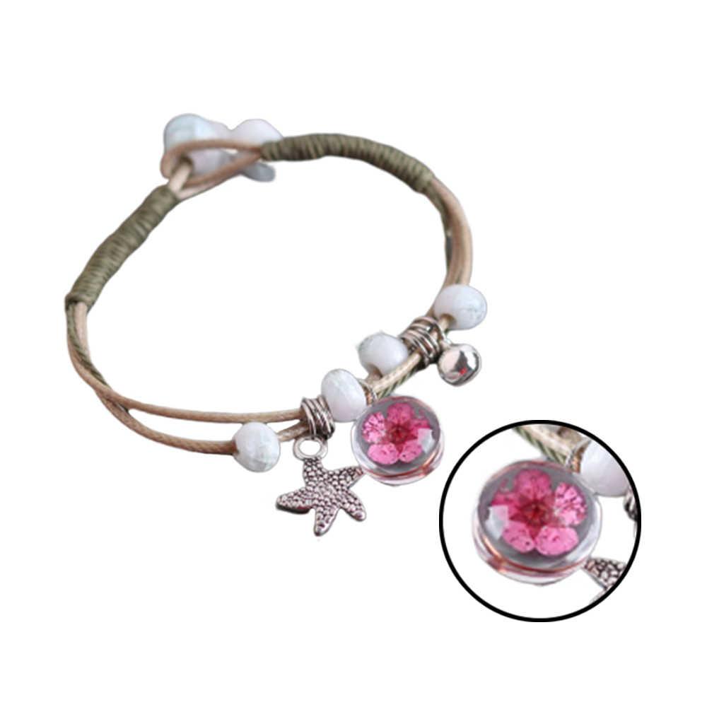 DIY ผู้หญิงเรียบง่ายกำไลนาฬิกาข้อมือ Charms เครื่องประดับ Handmade แห้งดอกไม้คริสตัลบอลเกราะปรับกำไลเครื่องประดับ