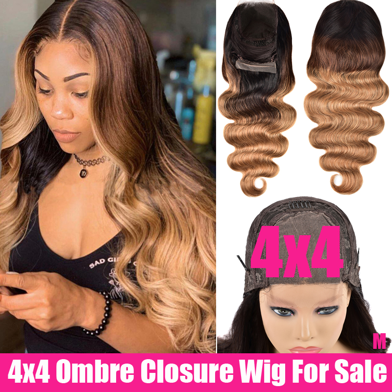 SAYME Ombre Body Wave Closure Wig 4x4 Lace Closure Wig Remy Brazilian Hair Wigs 150% Swiss Ombre Human Hair Wig For Women