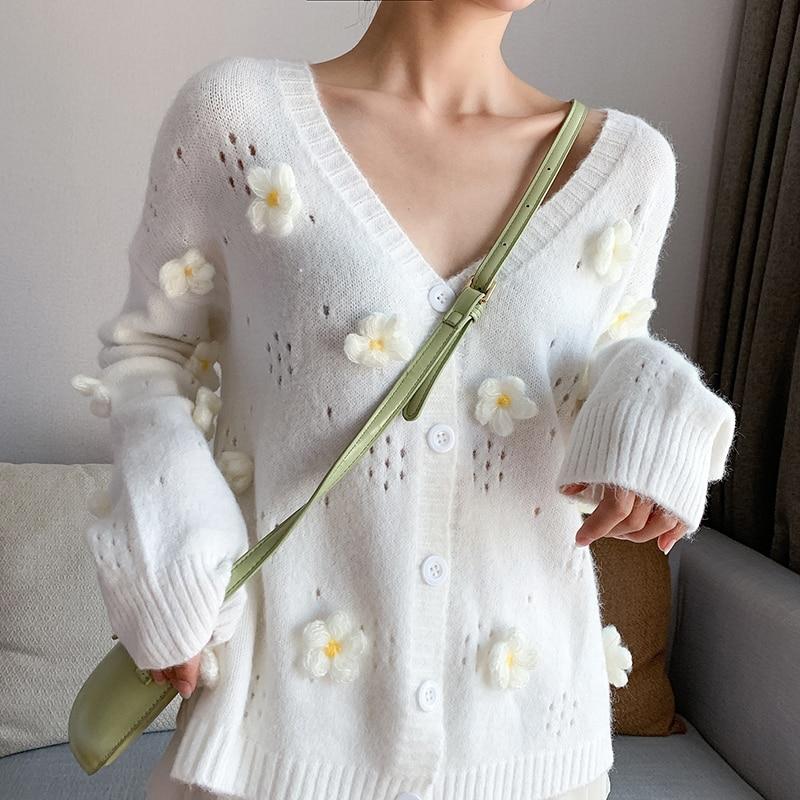 3D Flower Women Cardigans Hollow Out Women Knitted Cardigan Female Lazy Women Flower Sweaters