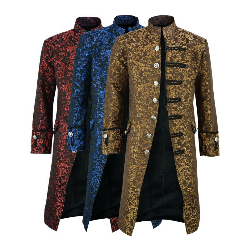 Men Edwardian Steampunk   Trench   Coat Frock Outwear Vintage Prince Overcoat Medieval Jacket Cosplay Costume