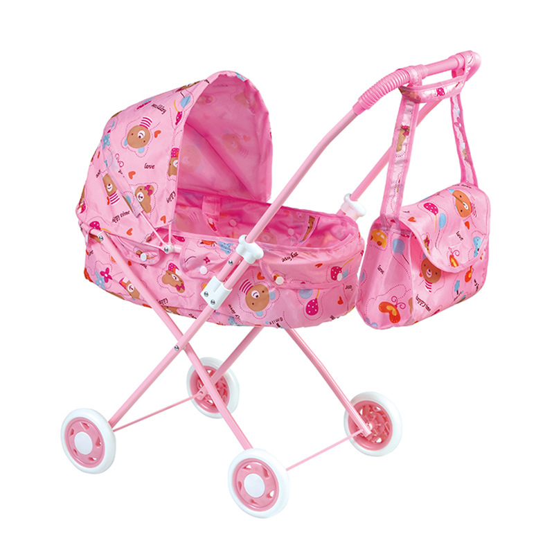 Pretend Toy House Trolley Baby Furniture Doll Stroller For Girs With Bag Children Play Doll Strollers 2-7years Old