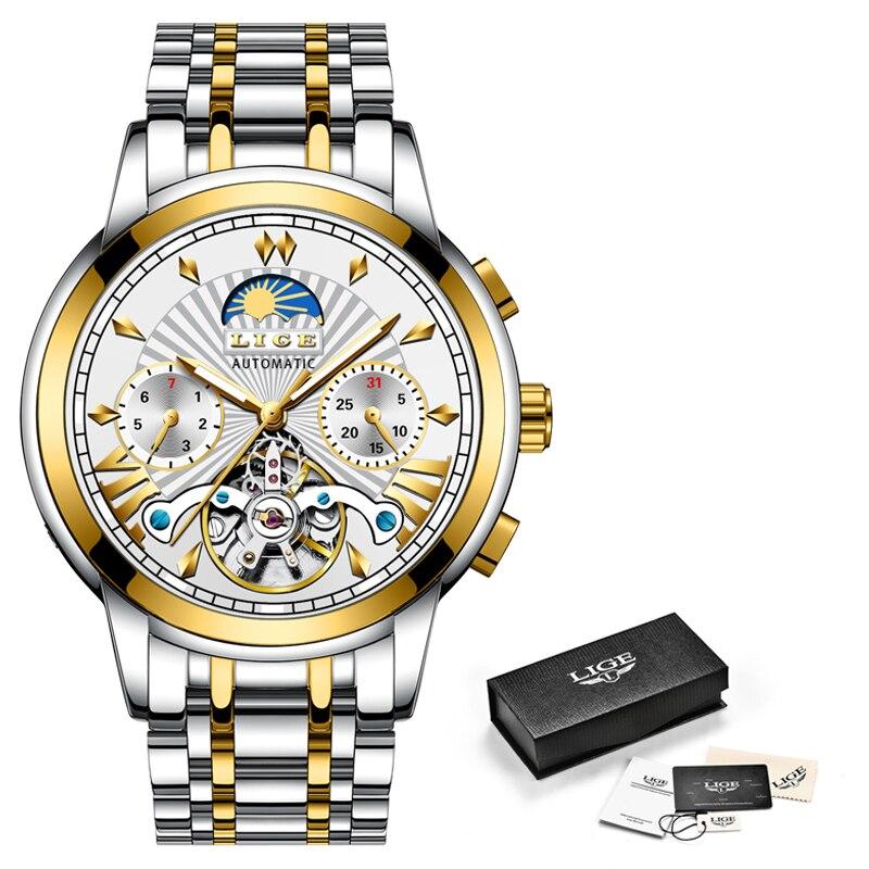 Image 5 - LIGE Официальный магазин для мужчин s часы лучший бренд класса люкс автоматические механические бизнес часы золотые часы для мужчин Reloj Mecanico de Hombres-in Механические часы from Ручные часы on AliExpress - 11.11_Double 11_Singles' Day