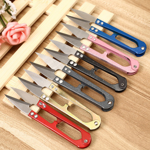 1Pcs 2018 Multicolor Vintage Trimming Sewing Scissors Nippers U Shape Clippers Stainless Steel Embroidery Craft Scissors Tailor(China)