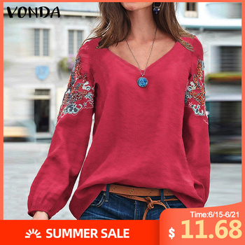 VONDA Embroidered Blouse Women Cotton Vintage Office Shirts Beach Printed Tops Bohemian Plus Size Tunic 2020 Casual Loose Blusas plus size arab embroidered open front blouse