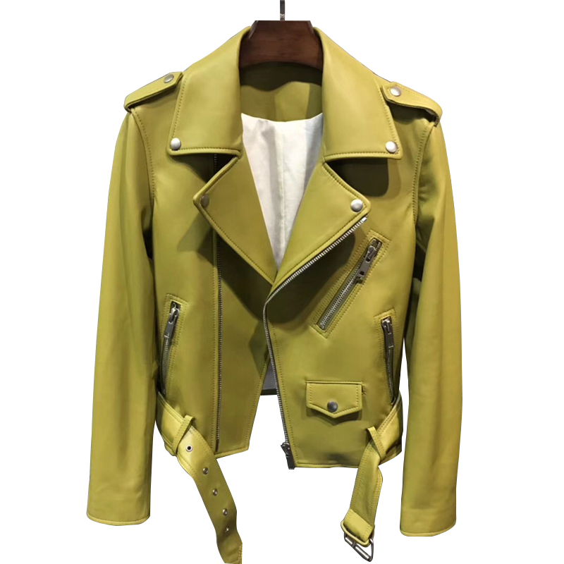 2019 New Fashion Women Autumn Candy Color Leather Jackets Zipper Basic Sheepskin Coat Turndown Collar Biker Jacket With Belt