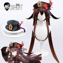 Hu tao cosplay peruca impacto genshin cosplay cosplay hsiu double duplo rabo de cavalo longo cabelo fibra sintética peruca de couro imitação chapéu