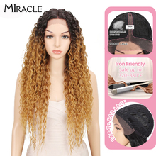 Miracle Hair Synthetic Lace Front Wig Ombre Hair Long Wavy Hair 28 Inch Blonde Wigs For Black Women Synthetic Lace Front Wig