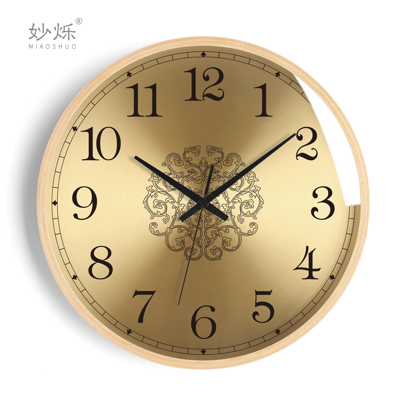 Nordic Luxury Large Wall Clock Wood Living Room Bedroom Gold Clocks Wall Home Decor Modern Design Kitchen Clock Wall Watch
