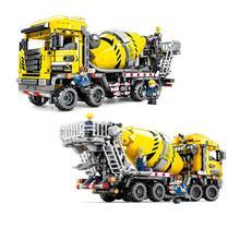цена на 703941 Compatible legoings City vehicle Concrete truck technic Construction Moc Engineering Model Building Bricks Blocks toy