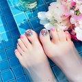 Летние Короткие накладные ногти для ног, искусственные накладные ногти на квадратном каблуке без клея, цветочный дизайн, искусственная кож...