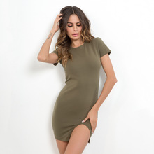 Summer 2019 Fashion Women Short Sleeve Sheath Dress with Slit Solid Color Bodycon