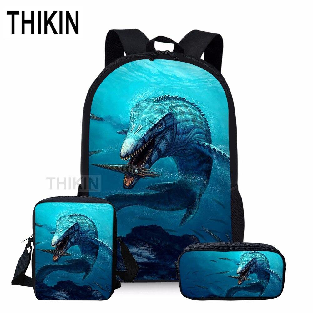THIKIN Mosasaurus Print School Bag Set  Backpacks for Teenage Boys Girls 3D Dinosaur Sea Monster 3pcs/set Students Shoulder Bags