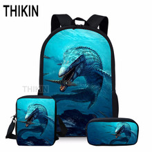 THIKIN Mosasaurus Print School Bag Set  Backpacks for Teenage Boys Girls 3D Dinosaur Sea Monster 3pcs/set Students Shoulder Bags