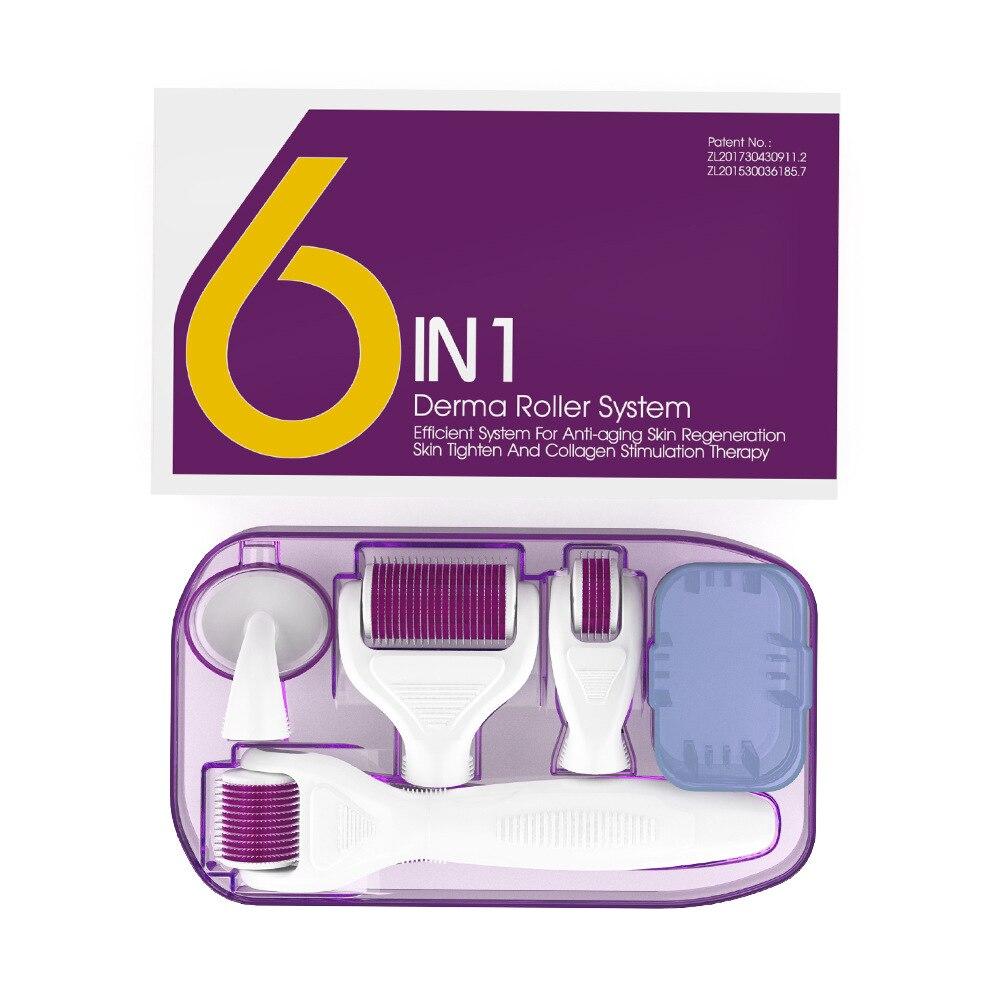 Derma коллаген инъекции дермы ролик Набор 6in 1 Hydra микронедлинг ролика для глаз для кожи, лица и тела Красота дермароллер омоложения Новый