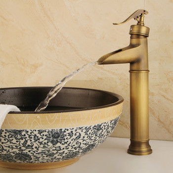 European antique home improvement faucet Coppery color cold mixing faucet bathroom toilet basin faucet Vertical installation