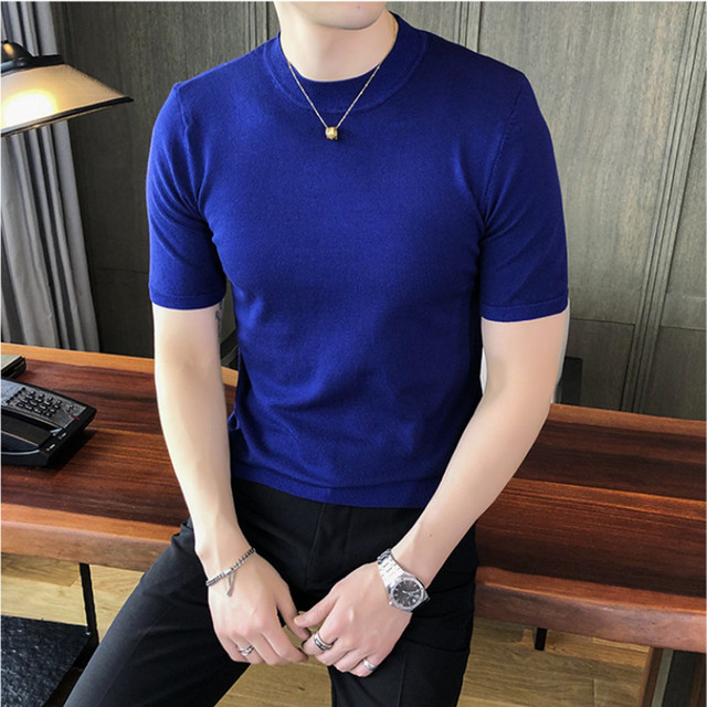 2021 Brand clothing Fashion Men summer slim fit Short-sleeved knit sweater/Male slim fit Round collar leisure Knit shirt S-3XL 1