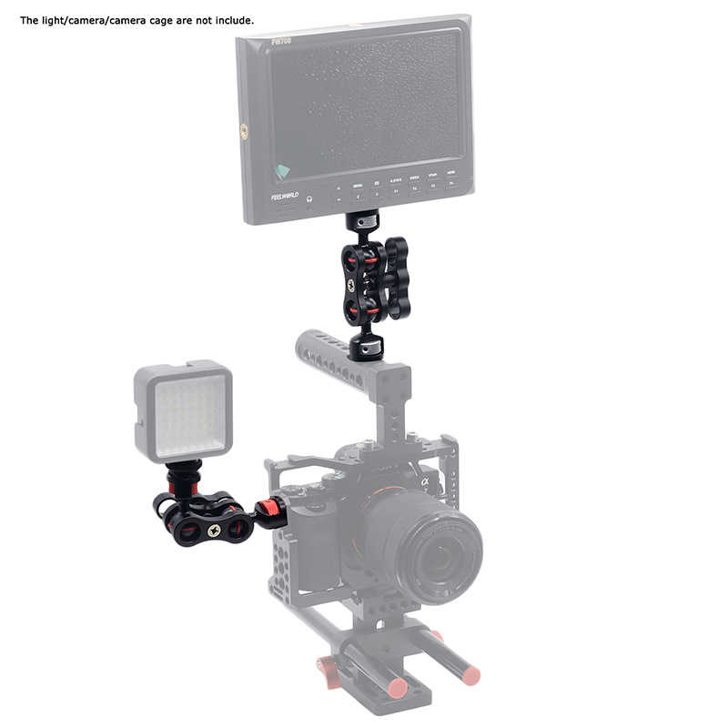Шарнирная Волшебная рукоятка с двойной шаровой головкой крепление для горячего башмака 1/4 ''штатив для камеры монитор светодиодный видео вспышка световая камера клетка