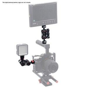 Image 4 - Scharnierende Magic Arm met Dual Bal Head Hot Shoe Mount 1/4 Statief Rig voor Camera Monitor LED Video Flash licht Camera Kooi