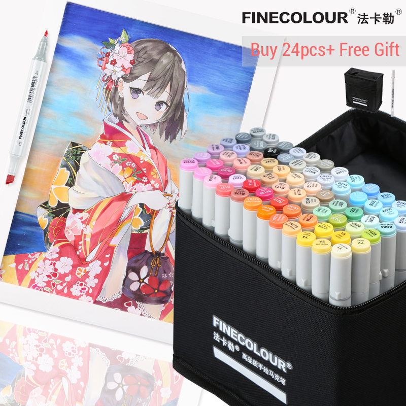 LifeMaster Finecolour Alcohol Marker Ink Fine/Board Twin Markers Professional Art Marker For Animation Design Stationery