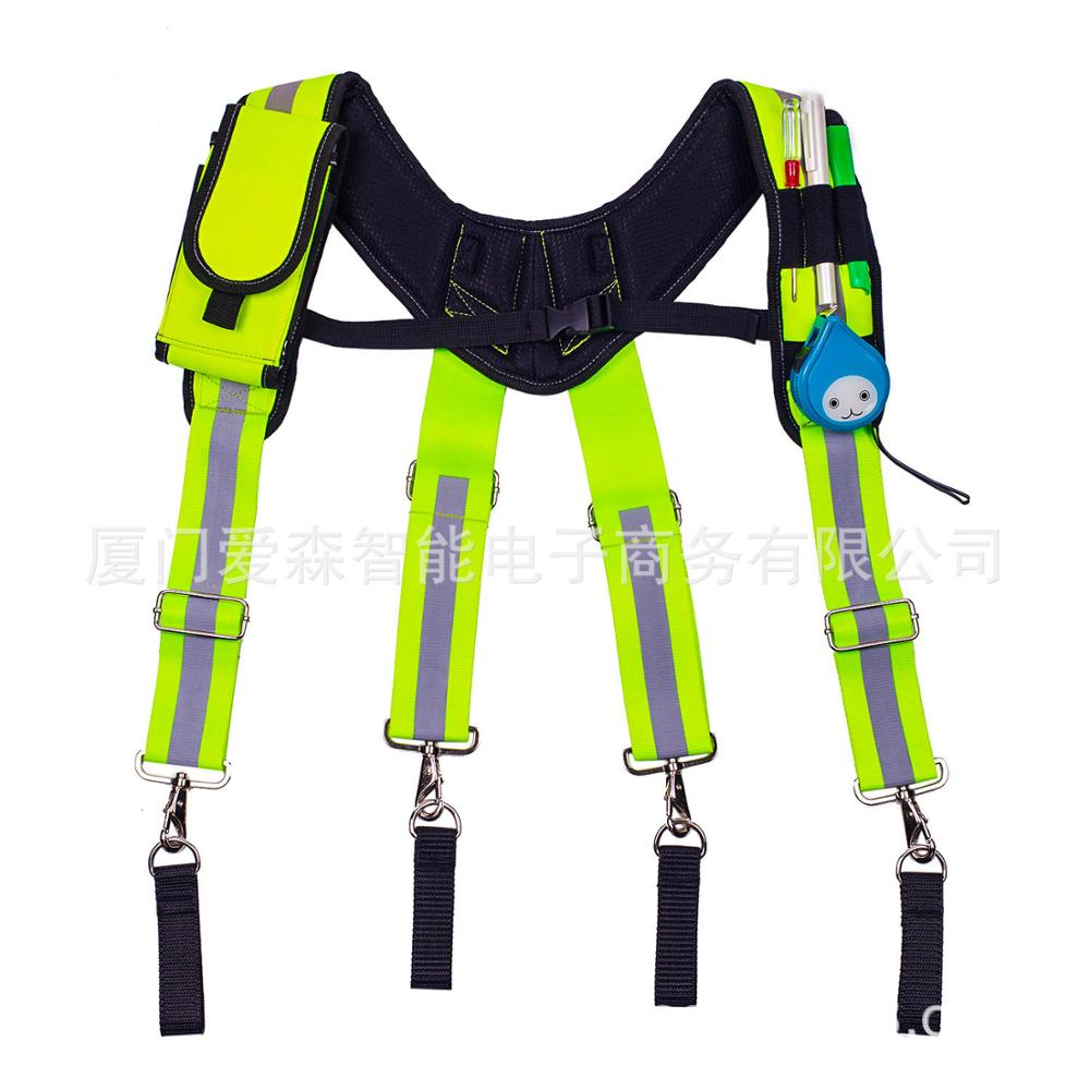Heavy Duty Work Tool Suspender X-shaped Suspendable Tool bag Fluorescent Green Reflective Strip Tool Suspender Reduce The Load