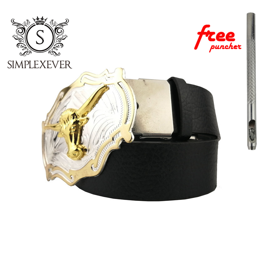 Luxury Golden Buffalo Metal Belt Buckle For Men Boys Belt Buckles With Leather Belt As Jeans Accessories
