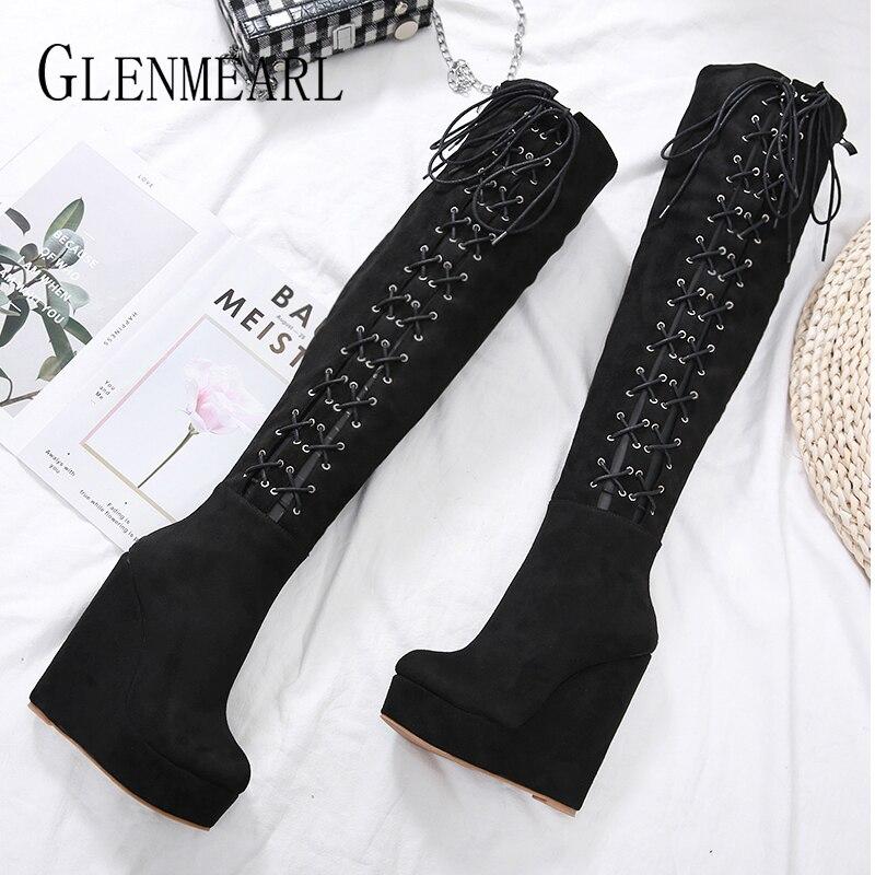 Ayakk.'ten Diz Üstü Çizmeler'de Kadın Platformu Yüksek Çizmeler Kama Kadın Kış Ayakkabı Siyah Kadın Ayakkabı Kalın Topuklu Dantel Up Zip rahat ayakkabılar 2019 Yeni Varış DE'da  Grup 1