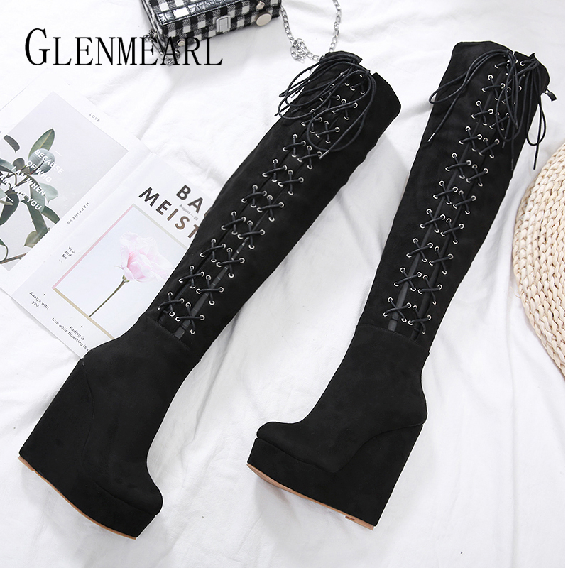 Women Platform High Boots Wedge Female Winter Shoes Black Women Shoes Thick Heels Lace Up Zip Casual Shoes 2019 New Arrival DE-in Over-the-Knee Boots from Shoes    1