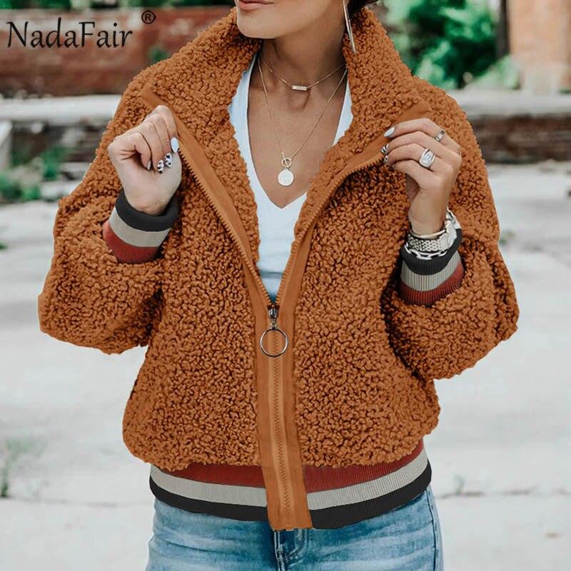 Nadafair Casual Teddy Coat Patchwork Pockets Fleece Winter Faux Fur Coat Women Fluffy Jacket Overcoat Outwear
