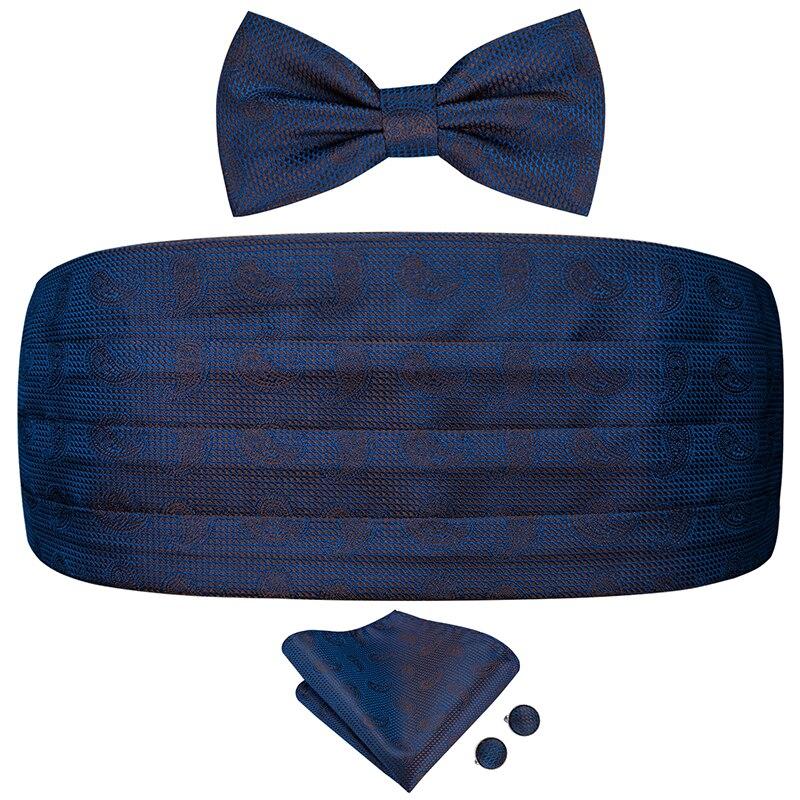 YF-2014 Hi-Tie Luxury Silk Men's Formal Wedding Party Floral Cummerbund Bow Tie Hanky Cufflinks Set Tuxedo Blue Cummerbunds