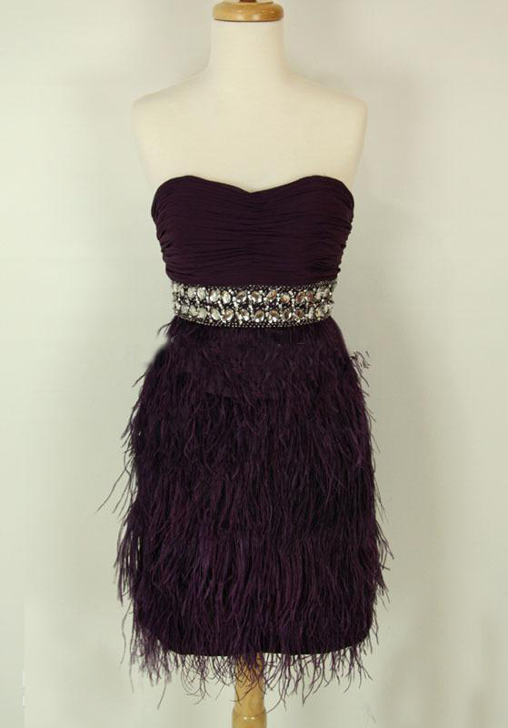 2018 Feather Homecoming In Purple Graduation Hot-sexy Party Prom Cute For 8th Grade Gown Graduation Mother Of The Bride Dresses
