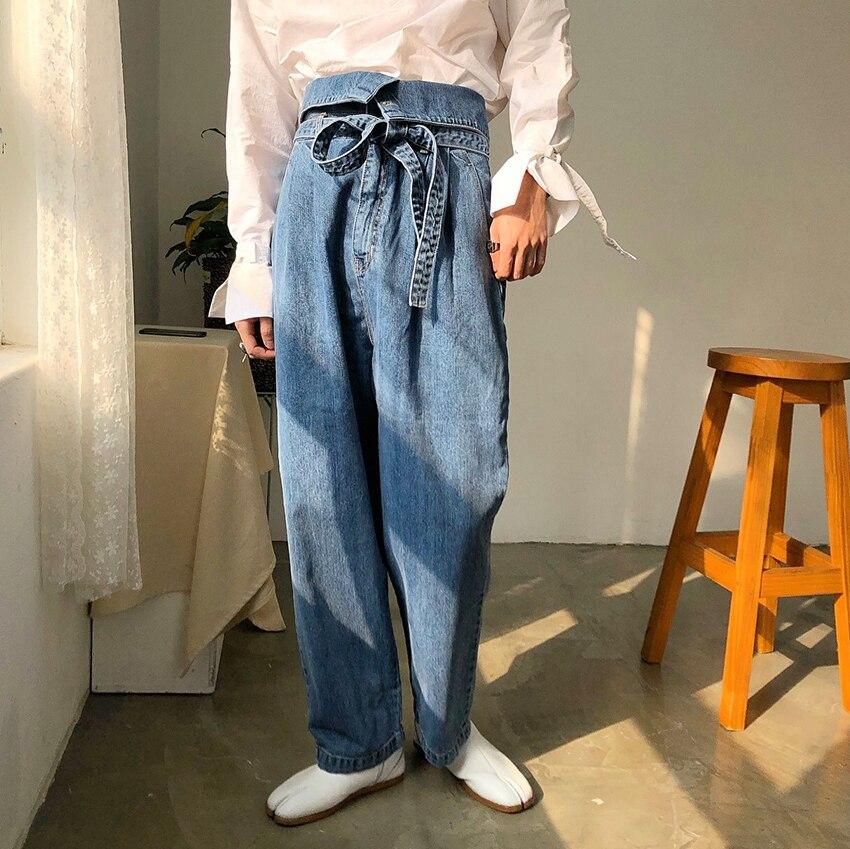 Men High Waist Belt Casual Loose Harem Jeans Long Trousers Male Vintage Fashion Japan Korea Streetwear Hip Hop Denim Pants Jeans