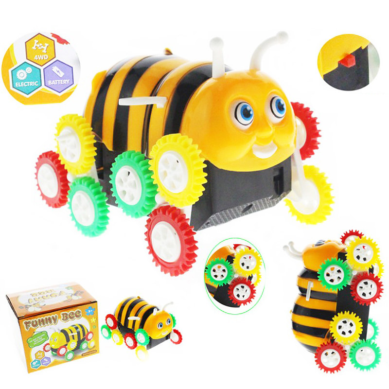 High Quality Amazing Kids Cute Funny Gifts Electric Colorful Cartoon 12 Wheels Bee 360 Degree Tumbling Car Toy