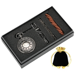 العتيقة مشاهدة الهدايا مجموعات الملكي الجوف خمر ساعة جيب الميكانيكية اليد لف فوب ساعة سلسلة قلادة على شكل صندوق للرجال النساء